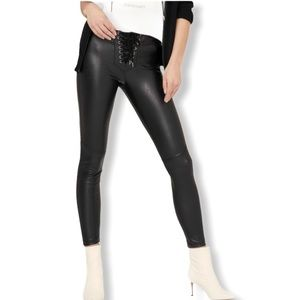 David Learner Black Lace Up Faux Leathered Legging